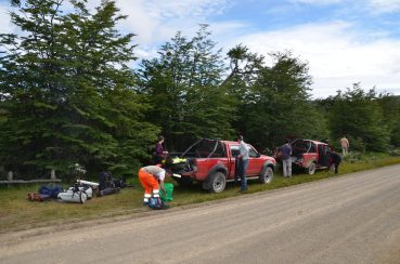 Packing the 4x4s up for another day's fieldwork...